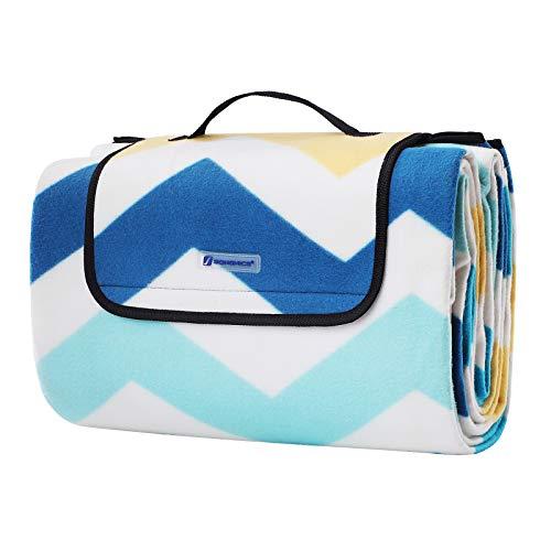 SONGMICS Picknickdecke, 200 x 200 cm, große Stranddecke, für Outdoor, Camping, Park, Garten, wasserfeste Unterseite, faltbar, blaue Wellen GCM70YU