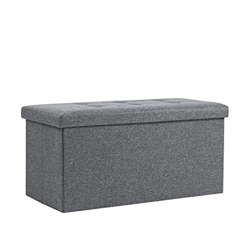 Storage Ottoman, Padded Foldable Bench, Chest with Lid, Holds up to 300 kg, for Bedroom, Hallway, Living Room (Dark Grey Linen, 76cm x 38cm x 38cm)