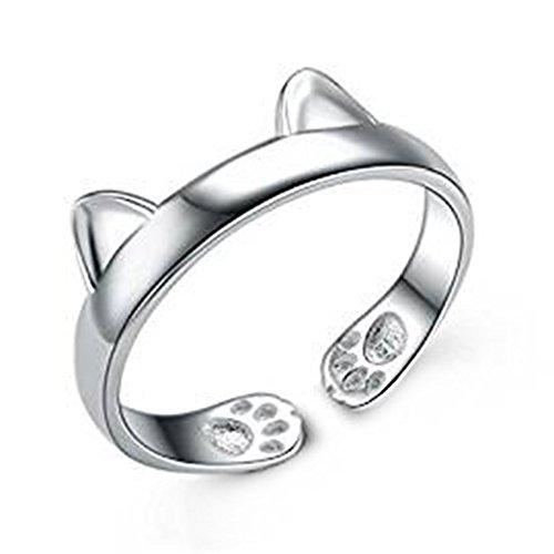 Demarkt–Anillos Mujer Ajustable nette gato gato Forma Inicio anillos, plata, Tamaño libre