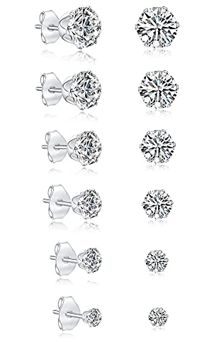 JDGEMSTONE Stainless Steel Silver Gold 6Pairs Cubic Zirconia Stud Earrings Set for Women Men Girls Round,Square Christmas Gift