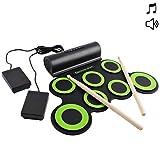 deAO Kit di Batteria Elettronica con Modello Pieghevole Portatile Set Tappetino Musicale d...