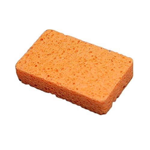 Esponja de Celulosa Que No Raya, Esponjas para Platos, Esponja de Doble Cara para Cocina, Bañera, Muebles, Zapatos, Lavado de Autos (Orange,10 Pcs)