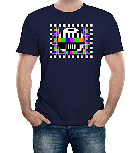 Men's Navy Blue Test Card T-shirt, S to 5XL