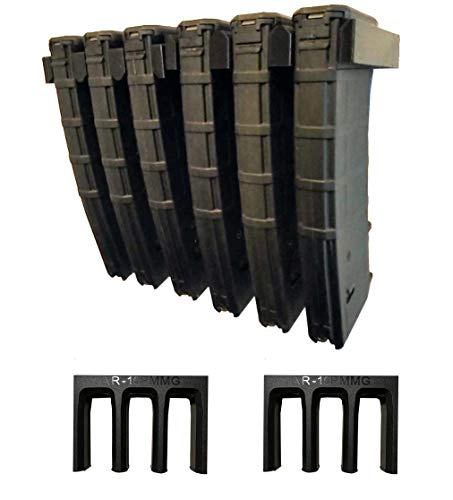 Tactical Pro Sports AR-15 PMAG Wall Mount   Magazine Display   Wall Storage Organization System   Unique Low Profile Design   Gun Room Mounting Solution   2 Mounts Hold 6 Mags Product Name