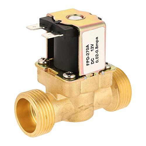 JUNYYANG Válvula solenoide eléctrica, 1pc DC12V G3 / 4 Latón cerrado normal Magnético Interruptor de válvula electromagnética para fluidos de agua Control de aceite de combustible