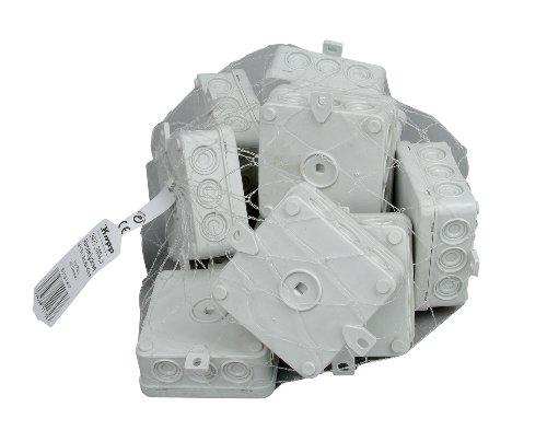 Kopp 347124043 Abzweigdose Aufputz-Feuchtraum, mit 5-poliger Klemmleiste, IP 54, 85 x 85 x 40 mm, Profi-Pack: 10-Stück