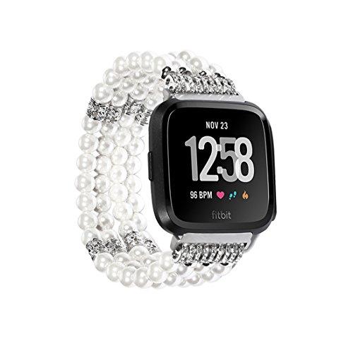 SUNEVEN für Fitbit Versa Band, Handgefertigt Elastic Stretch Achat Perlen Armband Ersatz Jewelry Armband Gurt 22mm Breite für Fitbit Versa Smartwatch, Weiß