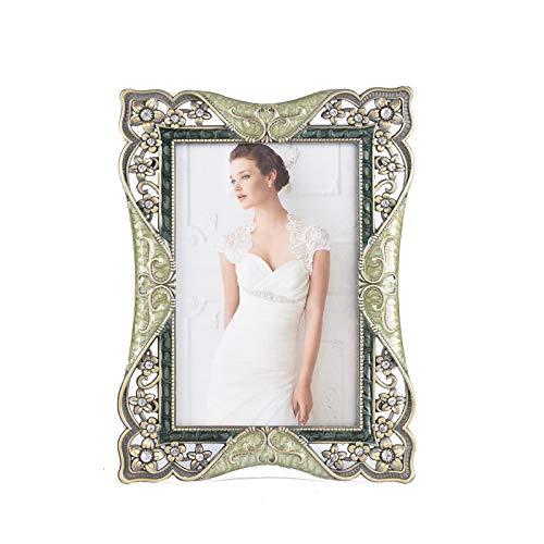 Retro-Stil Brautkleid kreative Fotorahmen Metall Emaille Farbe Fotorahmen Fotorahmen Einstellung Tisch 14,5 cm * 19 cm Grün
