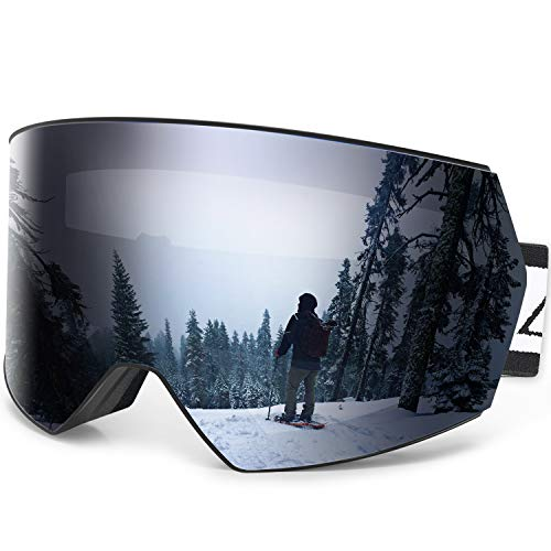 Zacro OTG Ski Goggles Anti Fog Frameless Over Glasses Snow Goggles with Interchangeable Lens for Men, Women & Youth, Dual-Layer Lens 100% UV Protection Snowboard Goggles with Anti-Slip Strap
