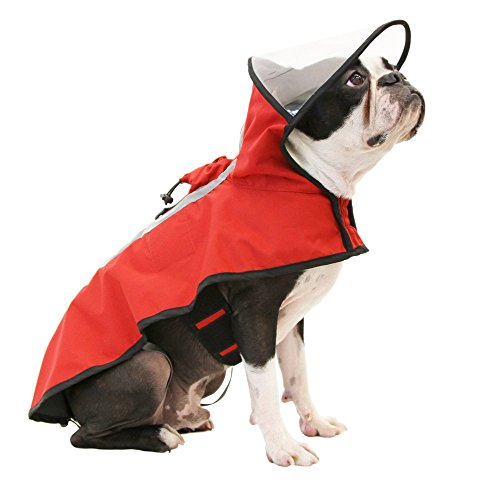 Gooby 76000-RED-XL Dog Rain Coat with Functional Adjustable Rain Cap, X-Large, Red