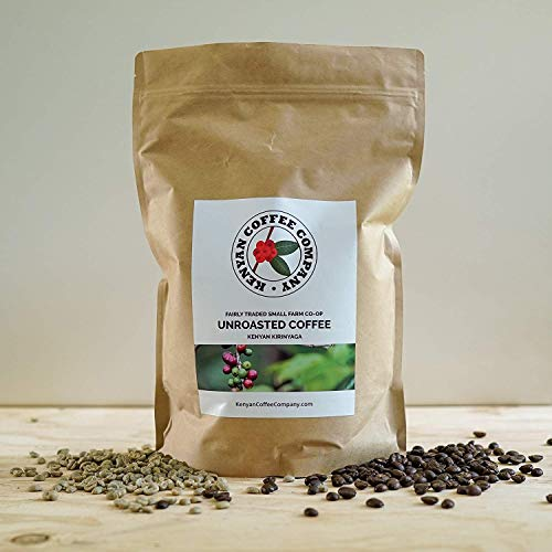 Single Origin Unroasted Green Coffee Beans, AA Grade From Small Regional Kenyan Coffee Farmer Co-Op. Direct Trade (5 pounds)