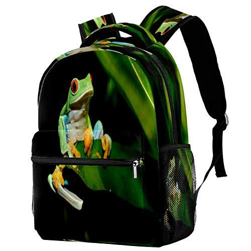 Mochila escolar con diseño de rana de árbol en una hoja, mochila para libros, mochila informal para viajes, estampado 4, Talla única, Mochila de a diario