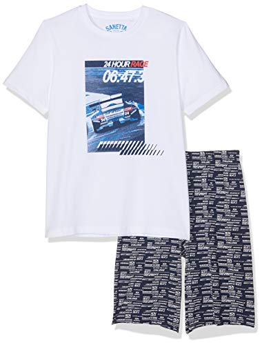 Sanetta Jungen Pyjama Short Zweiteiliger Schlafanzug, Weiß (White 10), 140