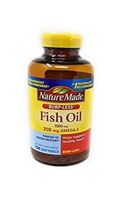 Nature Made Burp-less Fish Oil, 1000 Mg, 300 mg Omega-3, 150 Liquid Softgels, pack of 2
