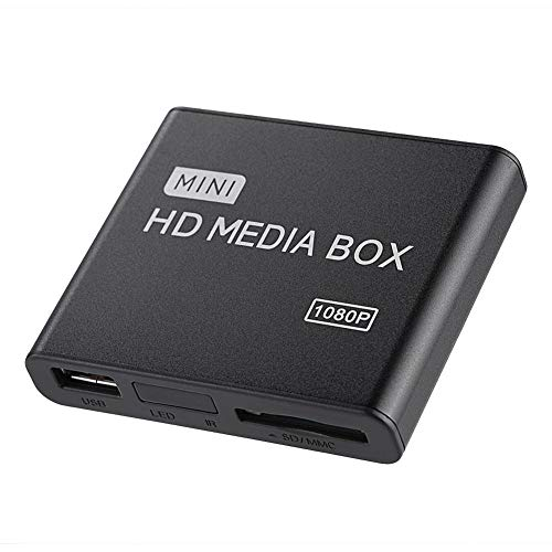 Completo HD HDMI Reproductor Multimedia, Mini 1080p Ultra HD Digital Media Player Soporte USB Drives, Tarjetas SD MMC RMVB MP3 AVI y MKV (EU)(D)