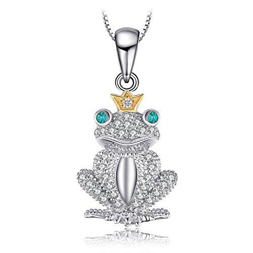 JewelryPalace Colgante Modelado de rana 0.1ct Nano Rusa Imitado Esmeralda Corona Collar de 45 CM Plata de ley 925