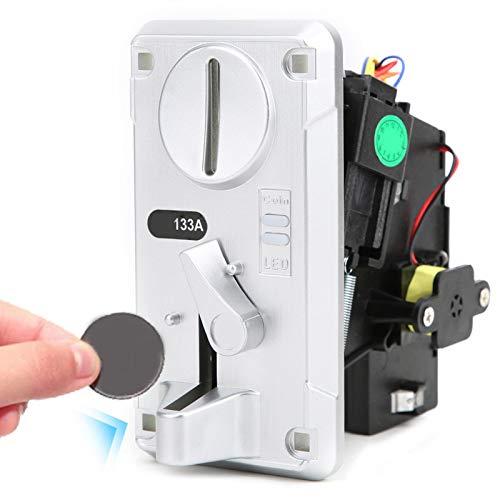 Hztyyier CPU avanzado Selector de Monedas Aceptador Clasificador de Caja Aceptador CPU con luz LED Cubierta abatible para máquina expendedora Acepta el Kit de Juego de Arcade(Plata)