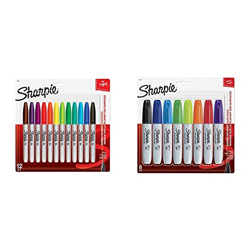 Sharpie 30075PP Permanent Markers, Fine Point, Assorted Colors, 12 Count & 38250PP Permanent Markers, Chisel Tip, Assorted Colors, 8-Count, Standard Packaging