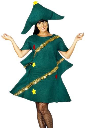 Smiffys-28265 Disfraz de árbol de Navidad, con túnica y Gorro, Color Verde, Tamaño único (Smiffy
