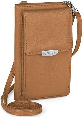 ONEFLOW Handy Umhängetasche Damen klein kompatibel mit Microsoft Handys - Handytasche zum Umhängen mit Geldbörse, Schultertasche Vegan Leder, Sattelbraun