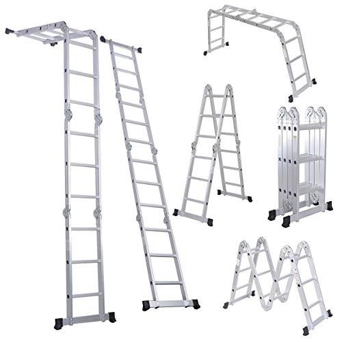 Comie 330lb 12.5ft Multi Purpose Aluminum Folding Step Ladder Foldable Lightweight Scaffold Ladder