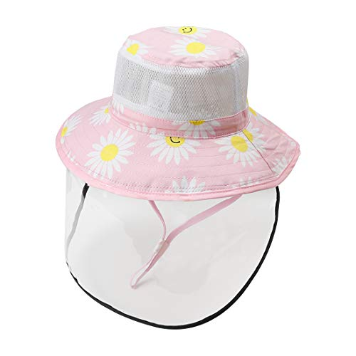 Happy Cherry Baby Cap with Removable Cover Cute Bucket Hat Face Shield Prevent Saliva Cold Baptism Birthday Gift Pink