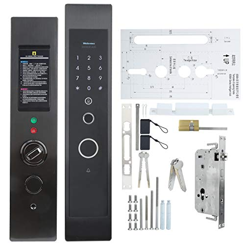 Cerradura de puerta inteligente con huella dactilar Cerradura de seguridad para el hogar Aleación de zinc Tarjeta de contraseña inteligente con huella dactilar Desbloqueo mecánico de llave para la seg