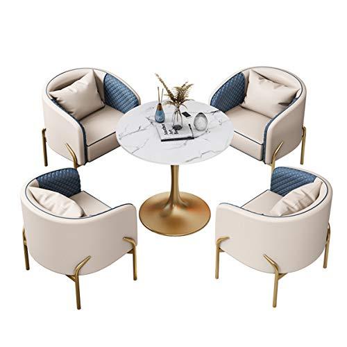 KEKOR Kaffeetisch und Stuhl Kombination nach Hause Essmöbeln Set 1 Tisch 4 Stühle Küche Bar Balkon Schlafzimmer Bibliothek Billiardhalle Büro Couchtisch (Color : Beige)