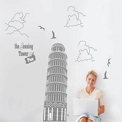 WLYUE DIY Decor MuralItaly Leaning Tower of Pisa Wall Stickers TV Wall Study Wall Sticker Bathroom Wall Sticker Scenic Spots