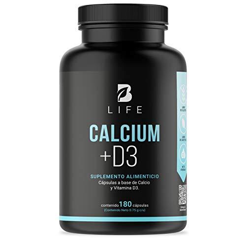 Calcio 600mg + D3 400 UI de 180 cápsulas suplemento para 90 dias. B Life Calcium +D3