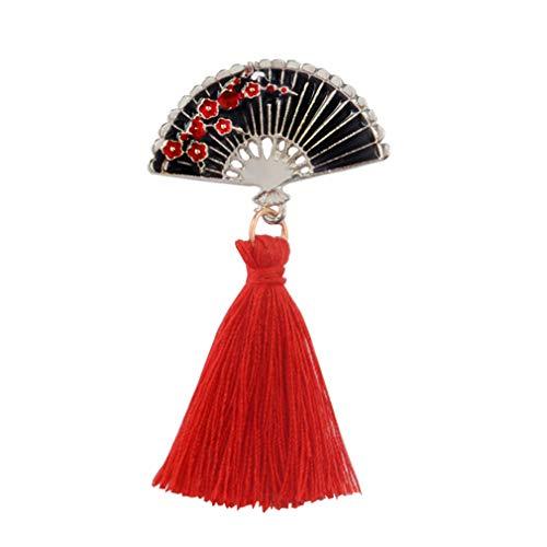 L_shop Fan Laterne Brosche Traditionelle Kirschblüte Revers Pin Quaste Ethnic Abzeichen Japanischen Stil Brosche, Fan, 5,5 * 2,9 cm