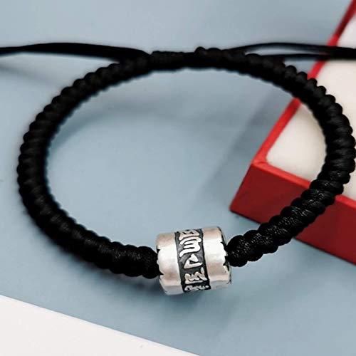 JIACUO Pulsera de Riqueza Natural Feng Shui de Plata esterlina Pulsera de Tubo de Transferencia de Mantra de Seis Caracteres Pulsera de Cuerda roja Pulsera Trenzada Amuleto Retro Chino Uso Ajustable