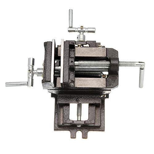 2 Way Cross Slide Vise Drill Press 4inch(100mm) clamp Steel milling Machine Bench vice, Heavy Duty Mechanic's vice Cross Drill Press Vise Slide milling X-Y 2 Way clamp vice Machine