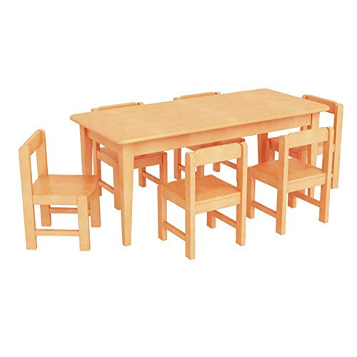 N/Z Daily Equipment Kindergarten Table and Chair Set Solid Wood Tables and Chairs Study Desk Writing Desk and Chair for Children and Students(1 * Table and 6 * Chair)