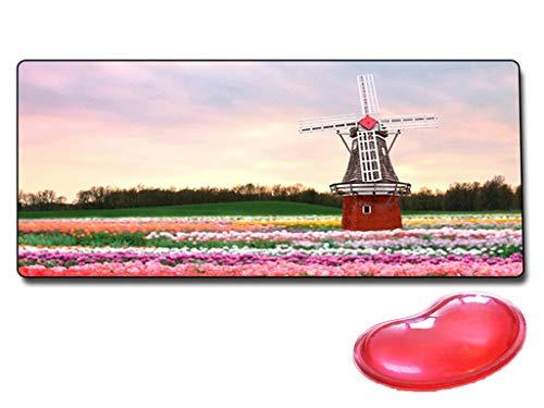 Muis pad en rode hartvormige pols pad, anime cartoon spel tafelkleed en bureau muis inductie pad-70x30cm (Maat: E)