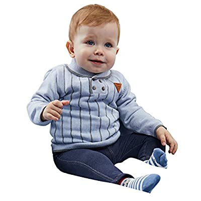 Babay Boy Long Pullover Sweater with Special Polo Neck and Simple Stripe Color 100% Combed Cotton Good for Indoor Outdoor Wear Light Blue