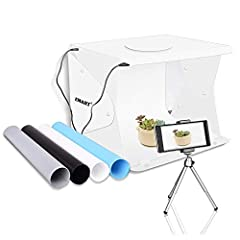 "[1 X ] 14"" x 16"" Portable Photo Studio Box, Professional Light Box Setup [1 X ] 80"" Micro USB Port Power Cable, for Plug Adaptor & Power Bank [4 X ] Photo Box Backdrops (White, Black, Blue, Gray )丨[1 X ]Tripod Stand Holder for Smart Phone [2 X ] Powe..."