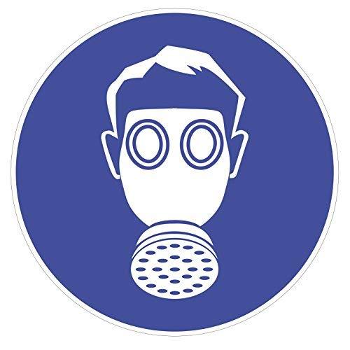 easydruck24de Gebotsaufkleber Atemschutz benutzen, Art. hin_146 DIN 4844-2, Ø 9cm, Hinweis, Achtung, Warnhinweis, Gebotshinweis, Atemschutz benutzen, Gasmaske
