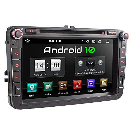 XOMAX XM-11GA Autoradio passend für VW, SEAT, Skoda mit Android 10 I 8 Zoll / 20,3 cm Touchscreen I GPS Navigation I DVD, CD, USB, SD I Support: WiFi 4G, DAB+, OBD2 I Bluetooth
