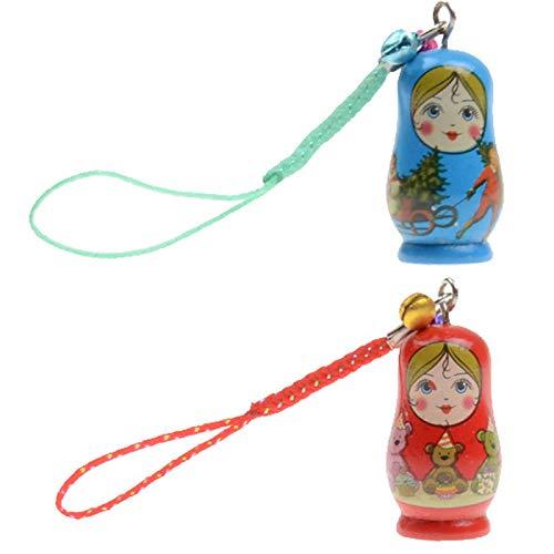 nlgzklsh Juego de 6 piezas de adorno colgante de muñeca Matryoshka con correa de madera, llavero de mano, accesorios para el teléfono, regalos para niños
