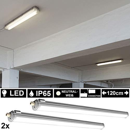 2er Set 36 Watt SMD LED Decken Nass- Feuchtraum Leuchten 4000 Kelvin Industrie Wannen Strahler Keller Garage Werkstatt Arbeitsplatz