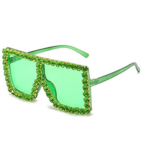 Sonnenbrille Herren Übergroße Quadratische Diamant-Sonnenbrille Damen Strass-Sonnenbrille Damenbrille Vintage Brille C10Green-Green