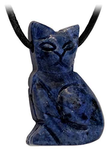 Kaltner Präsente Idea de regalo – Collar de piel para hombre y mujer con colgante de animal de piedra preciosa de gato dumortierita azul (30 x 20 mm)