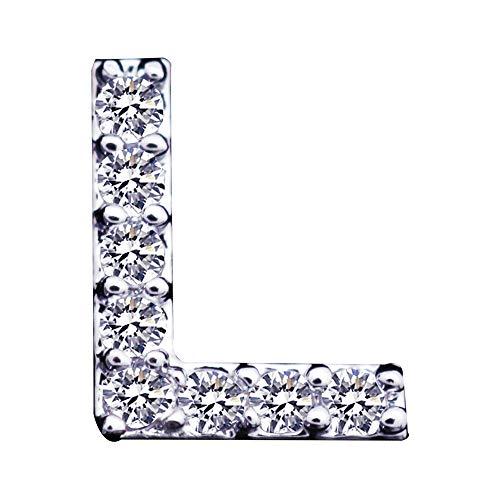 Orecchini da donna con zirconi placcati in argento placcato in argento - Spina iniziale per orecchini a forma di lettera A-Z per regalo di compleanno/Natale Tiny Size