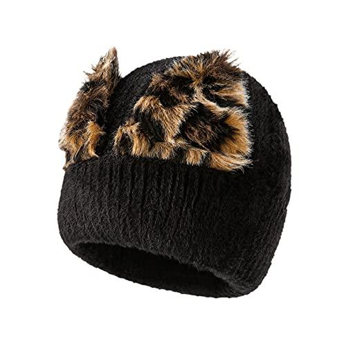 Yue668 - Gorro de invierno para mujer, de felpa con gorro de punto de punto cálido a imitación, Negro , Talla única