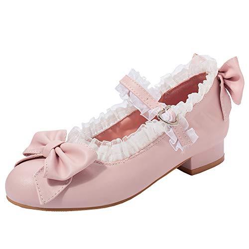 Lolita Cosplay Schuhe Mary Jane Pumps Flach Ballerina mit Schleife und Riemchen Rockabilly (Pink,41)