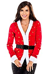 Cute Sexy Tipsy Elves Women's Sequin Mrs. Claus Christmas Sweater With Belt