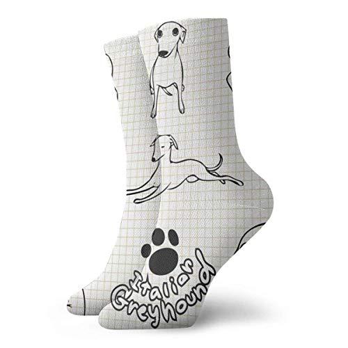 Ocasionales Calcetines,Calcetines Deportivos,Alto Rendimiento Sports Socks,Calcetines Para Correr Con Control De Humedad Impresos Para Perros Galgos Italianos Calcetines De Entrenamiento Trans