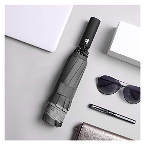 SSBH Espejo de vanidad Paraguas inverso automático LED Luminoso a Prueba de Viento 3 Negocio Plegable Paraguas Fuerte Rain Hombres Coche 10k sombrilla compensación (Color : Automatic Gray)