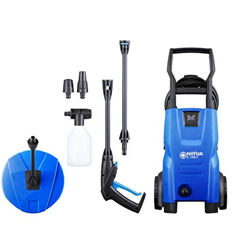 Nilfisk C 110 bar 110.7-5 PC X-TRA Compact Pressure Washer for Basic Tasks Outdoor Cleaner with Patio Cleaning Accessory Kit, 1400 W, 240 V, Blue, 440 L/H Water Flow